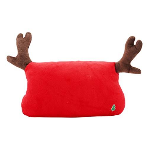 Idiytip Weihnachten Hirschgeweih Auto Sitz Kopf Nackenstütze Kopfstütze Kissen Autokissen Baumwolle, Big Red