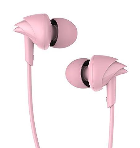 UiiSii C200 In-ear Sport Kopfhörer HIFI Ohrhörer Schweißdicht mit Mikrofon Verwicklungsfrei und Außengeräusch für Kinder&Erwachsene(Pink)