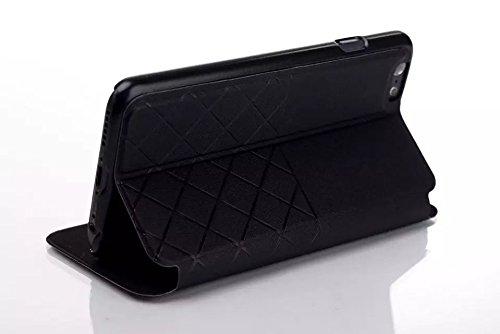 iPhone Case Cover grid - fenster art pu - ledertasche matte oberfläche hardcover für das iphone 6 65 ( Color : Blue , Size : IPhone 6 6s ) Black