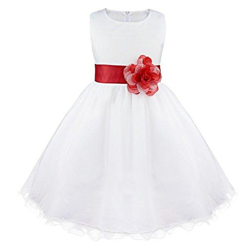 744703870 IEFIEL Vestido Blanco Fiesta Boda Bautizo Niñas Vestido