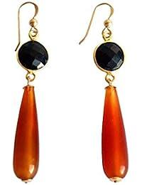 Gemshine - Damen - Ohrringe - Vergoldet - Karneol - Onyx - Orange - Schwarz - PARTY DROPS - 5 cm