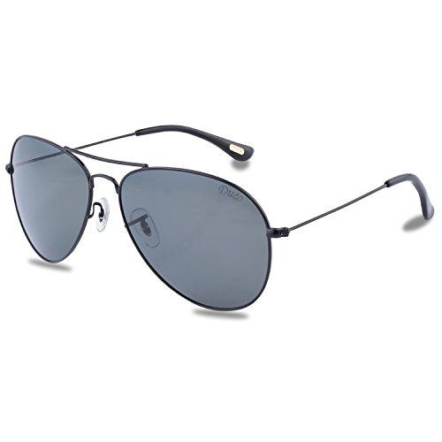 Duco men's aviator stile classico polarizzato occhiali da sole 3025 (nero telaio grigio lente)