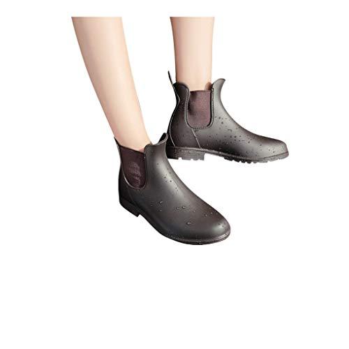 Dorical Kurzschaft Stiefel für Damen/Frauen Gummistiefel Gummistiefeletten Regenstiefel Mode Chelsea Boots Rain Boot Schlupfstiefel(Braun,36 EU)