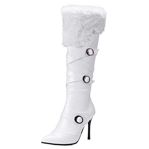 Stiletto Fell Stiefel (AIYOUMEI Damen Spitz Zehen Kniehohe Stiefel mit Schnalle und Fell Stiletto High Heels Langschaft Stiefel Schuhe)