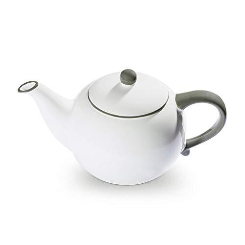 GMUNDNER KERAMIK Teekanne glatt Füllmenge : 1.5 Liter Grauer Rand Geschirr, handgemacht in Österreich -