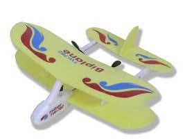 Micro avion biplan d'intérieur télécommandé RC- Jaune