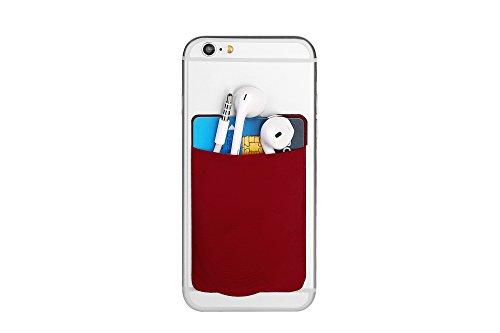 Cerbery® | Smartphone Kartenhalter | Auto Etui Fingerhalter Fitness Folie Halter Halterung Handy Hülle Kartenhülle Kopfhörer Sport | Kompatibel mit Apple iPhone 7 8 X Samsung Galaxy (Weinrot)