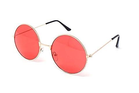 Ultra® Gold umrahmt von roten Linsen Erwachsene Retro Runde Sonnenbrillen Full Mirror Lens John Lennon Style Vintage look Qualität UV400 Sonnenbrillen für Männer
