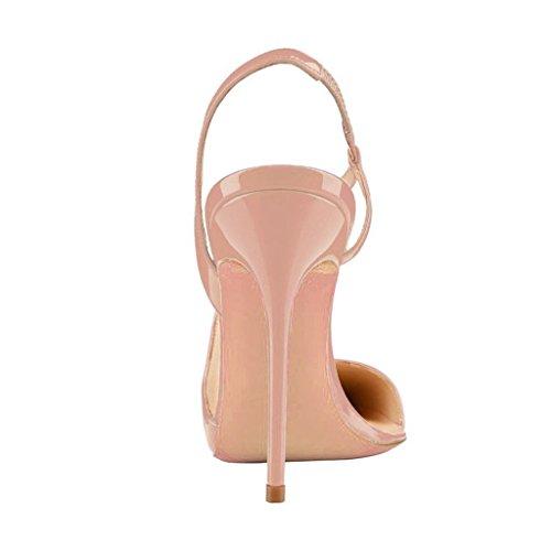 Kolnoo Damen High Heel Pumps Pointed Toe Slingback Damenschuhe Große Größe Beige