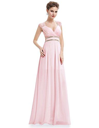 Ever-Pretty Vestido de Noche Elegante con Cuello en V para Mujer 36 Rosa