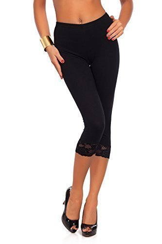 Cropped 3/4 Length Cotton Leggings With Lace Edging. Ideal for Madonna look.