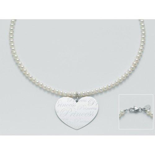 miluna miss italia principessa collana di perle con ciondolo cuore argento
