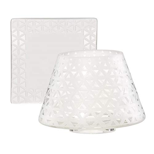 YANKEE CANDLE Belmont - Pantalla para lámpara y Plato (Cristal, tamaño Grande), Color Blanco