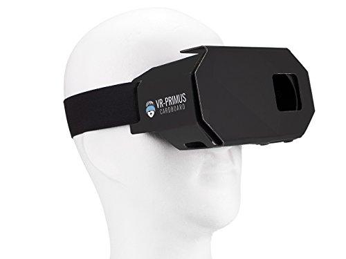 VR-PRIMUS® Cardboard | VR Brille | Virtual Reality | Leicht, Nasenpolster, Kopfband | Für Smartphones wie iPhone, Samsung, HTC, Sony, LG, Nexus, Huawei, OnePlus, ZTE, Google Pixel usw. | (schwarz)