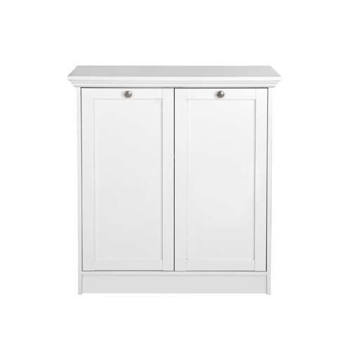Kommode in weiß, mit 2 Türen und 2 Einlegeböden, hochwertige Rahmenfronten, Metallknöpfe im Vintage-Look, Maße: B/H/T ca. 80/90/35 cm - 3