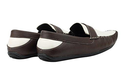 Mens Nero Marrone Bianco In Finta Pelle Plateau Smart Casual Mocassino Slip On scarpe piatte White, Brown