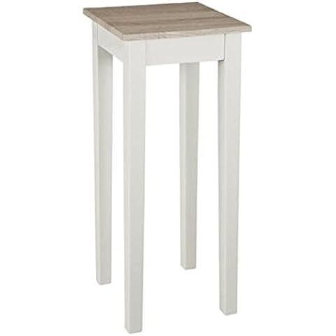 Consola de madera DM, estructura en colour blanco brillante, estante elaborado en haya clara (roble Sonoma), Haku 51246