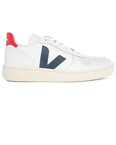 VEJA - - Uomo - Sneakers V10 Cuir Blanc Contrase Bleu Marine pour homme -