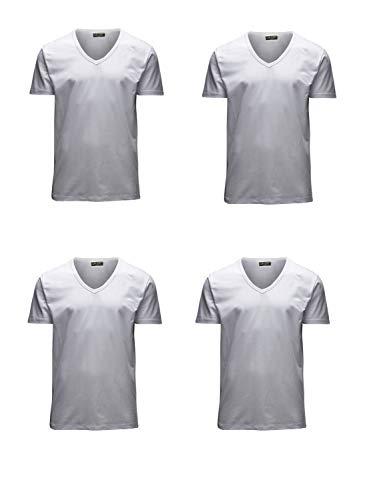 JACK & JONES Herren T-Shirt Basic 4er PACK O-Neck V-Neck Tee (M, 4er V-NECK weiss) - Weiss Jack