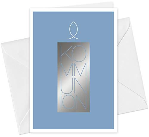 20 Karten & 20 Umschläge: Einladungskarten Kommunion Motiv Kerze Fisch A6 Klappkarten im Set, Kommunionskarten Einladungen mit Heißfolienprägung (Silber)