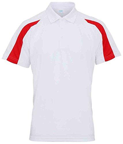 AWDis Herren Poloshirt - Arctic White/ Fire Red