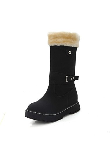 ShangYi Mode Frauen Schuhe Damenschuhe Keilabsatz Schneeschuhe / Runder Stiefel Kleid / Casual Schwarz / Blau / Gelb / Beige / Burgund Schwarz