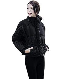 Abrigo Acolchado Mujer Elegantes Casuales Stand Cuello Manga Largo Abrigos  Ligeros Colores Sólidos Moda Especial Estilo 22f461e7d34