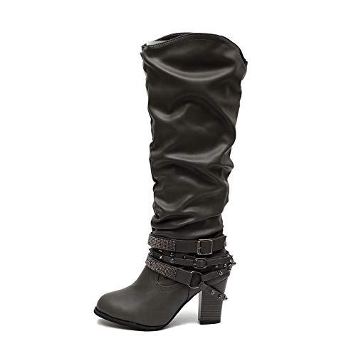 Damen Stiefel Leder Plateau High Heel Schlupfstiefel Hoch Langschaftstiefel mit Blockabsatz Winter Schuhe Ankle Chelsea Boots 6Cm Schwarz Grau Braun Gr.35-43 GY42