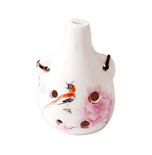 6 Löcher Ocarina Keramik für Anfänger Halskette Flöte Musikinstrument, Pfirsichblüten und Vogel