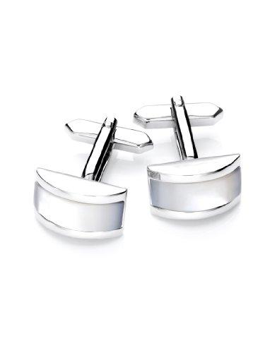Vincenzo Boretti Herren Manschettenknöpfe rechteckig Silber-weiß echt Perlmutt Box Etui edel elegant zum Hemd für Business Hochzeit