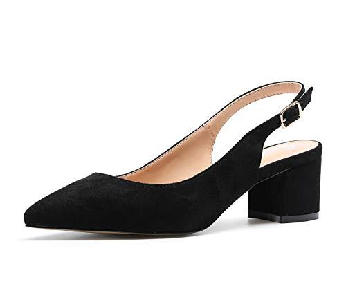 CASTAMERE Scarpe Donna Eleganti con Tacco Medio con Cinturino Dietro la Caviglia Tacco a Blocco Tacco Alto 5 CM Scamosciato Nero Scarpe EU 41.5