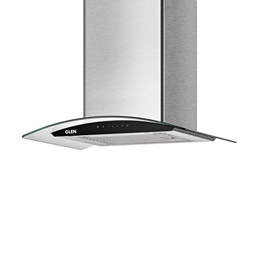 Glen 60 cm 1200 m3/h Auto clean Curved Glass Kitchen Chimney (Melissa auto clean SS 60 1200, Baffle Filter, Touch Control, Silver)