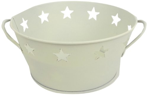 Craft Outlet Inc T0410 7.5-inch Off White Tin Flower Base Container W/Star Cutout, Multi, Étain, Multicolore, 19,05 x 19,05 x 19,05 cm