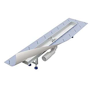 Shower drain channel 800 mm AQUABAD® SDS Pro made of stainless steel/with hair filter and odour trap/with Viega horizontal siphon (cover for shower channel not included!)