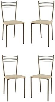 t m c s Tommychairs - Set 4 sedie Modello Elena per Cucina Bar e Sala da Pranzo, Struttura in Acciaio Vernicia
