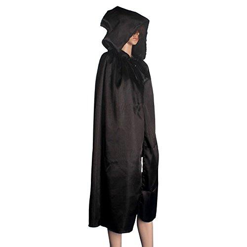 Sannysis Kapuzen-Umhang Mantel Wicca Robe Medieval Kap-Schal-Halloween-Party (M, Schwarz)