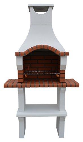 Veneto White Barbecue Masonry Charcoal BBQ Grill H205cm x W105cm