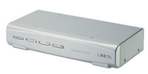 Lindy 4-Port KVM Switch Silver KVM switch - KVM switches (USB, USB, DVI-I, 1.8 m, 2048 x 1536 pixels, Silver)
