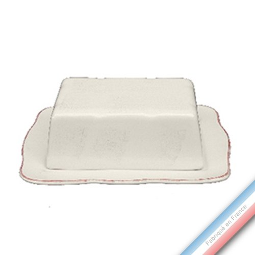 Niderviller 1735 Collection MAINTENON Patine Vanille - Beurrier Rectangle - 19,5 x 14 cm - Lot de 1
