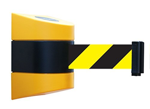 Tensabarrier 897-30-S-35-NO-D4X-C Mount No Custom Black/Yellow Chevron Webbing Standard Belt End, Mount Yellow Caps, 30' Standard by Tensabarrier -