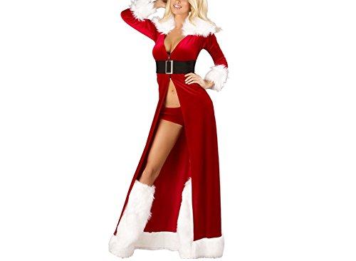 Shangrui Damen Roter Umhang, Weihnachts Party-Kleid, Nachtklub-Stab Cosplay Kostüme (Rot, (Larp Billig Kostüme)