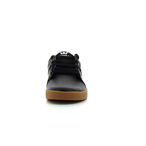 Chaussures De Skate Supra Stacks Ii En Cuir Noir