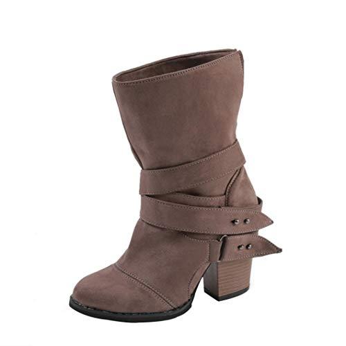 VJGOAL Damen Stiefel, 9CM Damen Mode Runde Zehe über Das Knie Flache Keile High Heel Stiefel...