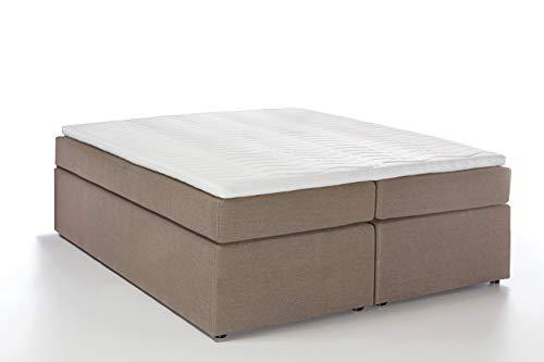Möbelfreude® Boxspringbett Bella Beige/grau 160x200cm H2 inkl. Visco-Topper, 7-Zonen Taschenfederkern-Matratze, amerikanisches premium Bett Luxus Hotelbett Polsterbett Doppelbett King-Size