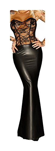 Noir Handmade Damen Langes Corsagen-Kleid im Wetlook 5XL-50