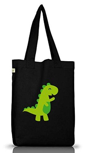 Shirttreet, Happy Dino, Jutebeutel Stoff Tasche Earth Positive (taglia Unica) Nere