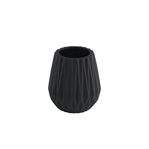 axentia Zahnputzbecher Chicago schwarz, hochwertig verarbeiteter Zahnbürstenhalter aus Keramik, Bürstenständer mit modernem und schlichtem Design, Zahnbürstenständer mit schöner Farbe