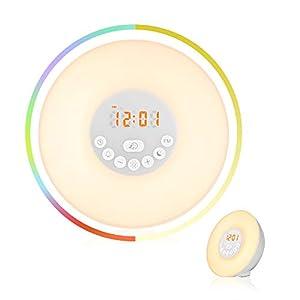 Lichtwecker, Hotchy Wake Up Licht Wecker mit Sonnenaufgang/Sonnenuntergang-Simulation, 7 farbige LED Lichter, 10 Helligkeitsstufen, 6 natürliche Alarmtöne, Intelligente Schlummerfunktion, FM Radio