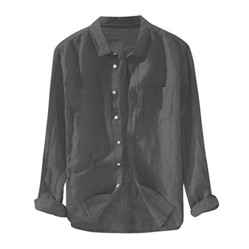 UINGKID Herren T-Shirt Kurzarm Slim fit Baggy Solide Baumwolle Leinen Langarm Knopf Tasche Plus Size T Shirts -