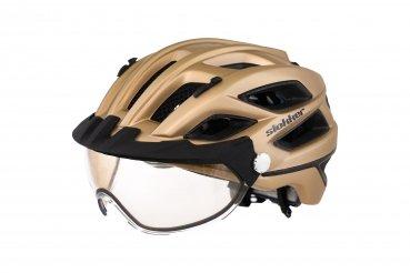 Slokker Fahrradhelm, Radhelm, Radsport PENEGAL mit verstellbarem, selbsttönendem (photocromatischem) Visier Weltneuheit (61+, Gold matt)